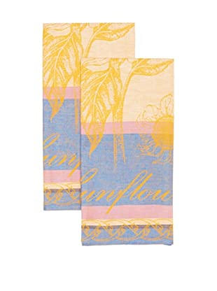 Mierco Fine Linens Set of 2 Sunflowers Jacquard Tea Towels (Blue)