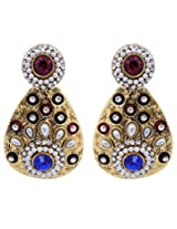 Hyderabadi Abhushan earrings gold with red,blue color stones