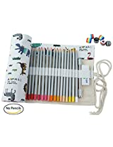 CreooGo Canvas Pencil Wrap, Pencils Roll Pouch Case Hold For 72 Colored Pencils ( PENCILS NOT INCLUDED )-Zoo,72 Holes