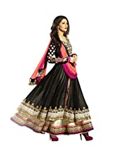 Adah Fashions Womens Georgette Anarkali Dress Material (492-2604 _Black _40)