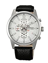 Orient Men white Dial Brown Strap Round Shape (STT12005W0)