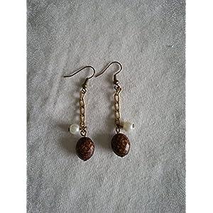 Knickknack Brown bead with Pearl earrings