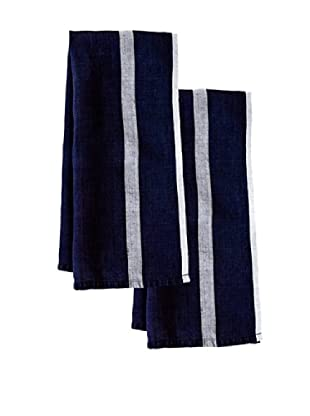 Couleur Nature Set of 2 Laundered Linen Tea Towels, Indigo/White