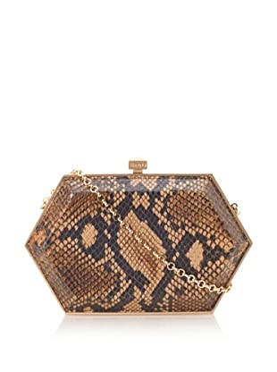 Be&D Women's Kumamoto Imaginative Hexagon Clutch with Crossbody (Brunette Snake)
