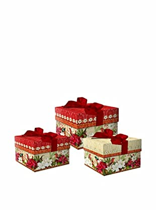 Punch Studio 3-Piece Square Nesting Merry Birds Boxes
