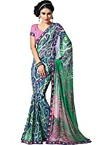 Pagli blue with green colour printed georgette saree with fancy resham border.