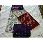 Purple Cotton Dress Material With Dupatta