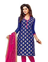 Charu Boutique Women's Cotton Un-Stitched Dress Material(Blue Rani _Free Size)