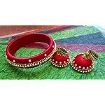 Crimson red silk thread bangle and jhumka set with pearl work.