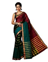 Paaneri Peacock Color with Maroon Strips Blended Cotton Saree _15111109402