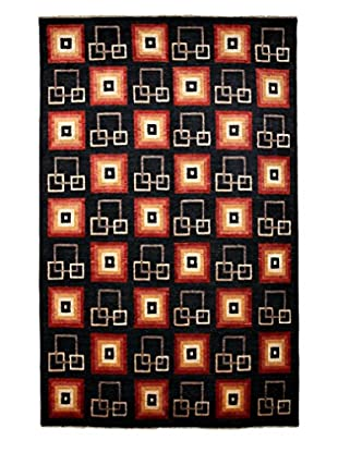 Darya Rugs Modern Oriental Rug, Black/Red, 6' 8