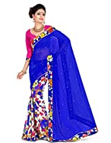 Zoom Embroidered Saree (Blue)