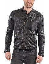 HugMe.fashion Men's Leather Jacket (JK18_Black_L, Black, L)