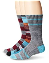 UNIONBAY Men's 3 Pack Multi Stripe Crew Socks, Grey/Blue, 10-13/Shoe Size 6-12