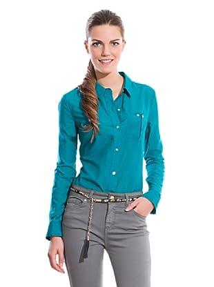 Cortefiel Camisa Algodón/Seda Lisa (Azul)