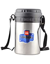 Cello Carbon 4 Stainless Steel Insulated Lunch Carrier, Black