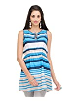 Yepme Matti Stripes Kurti - White & Blue - YPMKURT0537_XL