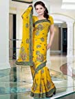 Yellow Embroidery Georgette Saree: