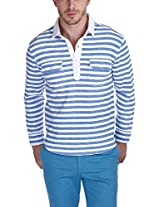 Zobello Men's Polo (21018A_White Blue_Large)