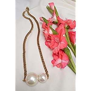 No Strings Attached Two White Pearl Dior Style Mid Length Necklace