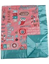 My Blankee Owl Word Minky Coral w/ Minky Dot Aqua Baby Blanket, 30