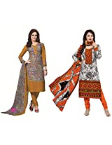 Rajnandini Combo of cotton Printed Unstitched salwar suit Dress Material (maroon & Orange _Free Size)