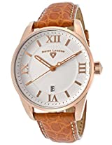 Bellezza White Textured Dial Brown Genuine Alligator Rose-Tone Accent (22012-Rg-02-Abr31C)