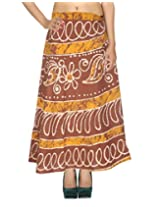 Rajrang Multi Wear Wrap Around Skirt Long Printed Brown Wrap Skirt Open waist