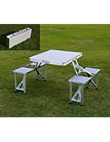 Foldable 4-Person Picnic Table and Seat Set - Silver