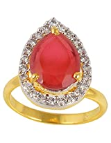 Handicraft Kottage American Diamond Ring Gold Plated For Women