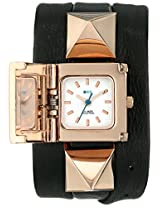 La Mer Collections Women's LMPYRAMID003 Rose Gold Stainless Steel Watch with Wraparound Black Leather Band