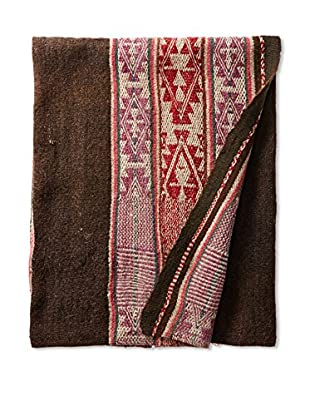 Nomadic Thread Society Vintage Peruvian Manta Throw, Earth Tone/Pink