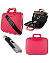 Pink SumacLife Cady Semi Hard Case w/ Shoulder Strap for Dell - Inspiron 15.6 Laptop + Black 4GB Flash Memory USB Thumbdrive