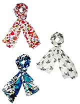 Set of three trendy Stoles, scarf and dupatta multicolored stole for women