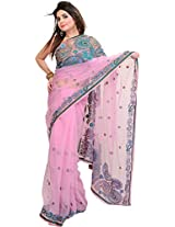 Exotic India Lilac-Chiffon Wedding Net Saree with Beaded Paisleys and Seq - Pink