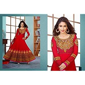 Georgette Red Semi-stitched Anarkali Suit