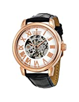 Croton Imperial Rose Gold Tone Skeleton Automatic Leather Men'S Watch - Croci331072Bsrg