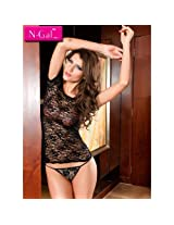 Sheer Lace Chemise Top and G-String with G-string, NG2332