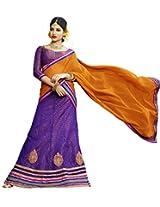 Melluha Purple Net Embroidered Booti and Border work Lehenga with Chiffon Dupatta