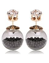 Celebrities Inspired Black Beads Filled Double Bubbles Earrings By Via Mazzini (With Crystal Top)