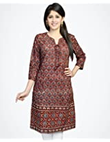 Cotton Ajrak Front Tie-up Mini Kurta-XL-Red