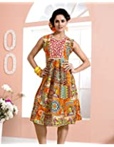 Cotton Embroidered Orange Frock Dress - 2004-B