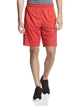 Umbro Men's Knit Active Short with Contrast Overlook (True Red)