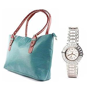 Fidato Women's Steel Watch + Sea Green Handbag (FD153)