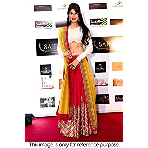 Bollywood Replica jacqueline fernandez Chiffon and Paper Silk Lehenga In Red and White Colour NC181