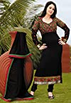 Black Faux Georgette Churidar Kameez