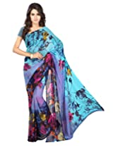 Chandra Silk Mills Turquoise Floral Print Daily Wear Saree