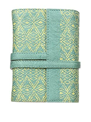 Marina Vaptzarov Small Printed Vegetal Leather Cover Travel Diary, Pale Blue/Green