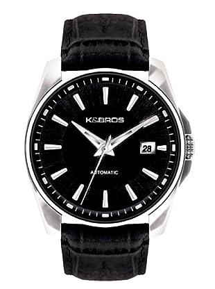 K&BROS 9474-1 / Reloj de Caballero  con correa de piel Negro