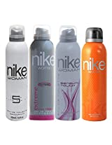 Nike Women Deo Set, 4x200ml (Women Deo, Extreme, Element and Sensual Touch)